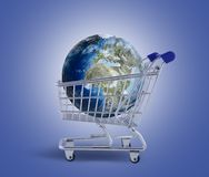 Earth in the shopping trolley. Photo compilation. photo and hand-drawing elements combined Royalty Free Stock Images