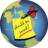 Earth should be saved. Earth with a memo stick should be saved. This file is also available as Illustrator-file royalty free illustration