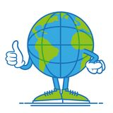 Earth show thump up. One round fun big cute blue world planet earth  which confidently stand in shoes and show a finger up, it like it. Modern vector style Stock Photography