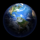 Earth showing America  on solid black Royalty Free Stock Images