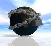 Earth shrouded in a chain Royalty Free Stock Image