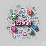 Earth sign. Environment collage with icons background Stock Photography