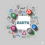 Earth sign. Environment collage with icons background Royalty Free Stock Photo