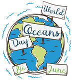 Earth with Signs in Hand Drawn Style for Oceans Day, Vector Illustration. Commemorative poster for World Ocean Day in hand drawn style with Earth planet and Royalty Free Stock Image