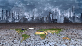 Earth sits in dried cracked mud metropolis Royalty Free Stock Images