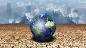 Earth. Sits in dried cracked mud before metropolis Stock Images