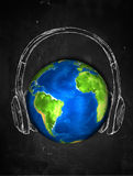 Earth Sketch Headphone music Background. Digital Drawing Stock Images