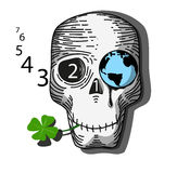 Earth_skull. Skull with Earth instead of eye socket and with a clover. Vector illustration Stock Images
