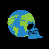 Earth skull. head of skeleton is planet. Continents and Oceans. Royalty Free Stock Images