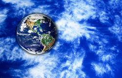 The Earth with sky in background. Fantasy art, The Earth with sky in background Royalty Free Stock Image