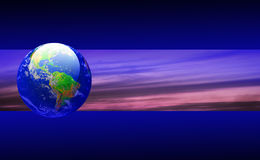 Earth and Sky Banner. Earth and sky on a banner with blue & black background Stock Image