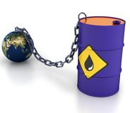 Barrel of oil and earth. Royalty Free Stock Photo