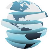 Earth slice America cut up globe pieces Stock Photos