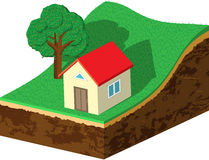Earth slice with house and tree Stock Photos