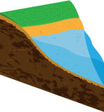 Earth slice with water source royalty free illustration