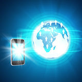 Earth with smartphone and people icons Royalty Free Stock Photo
