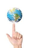 Earth social in hand Royalty Free Stock Photography