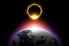 Earth and solar eclipse . Vector . royalty free illustration