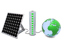 Earth, solar panel and battery Royalty Free Stock Photography