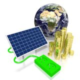 Earth, solar panels concept. 3D graphics with electrical socket, solar panel, golden coins, Earth - Europe and Africa side - great for topics like solar energy/ Royalty Free Stock Photos