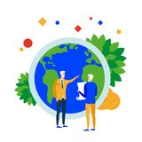 Earth solution. People solve problems of the earth. Financial, economic and environmental security. Global responsibility. Vector illustration. Separate objects Royalty Free Stock Image