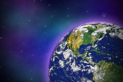 Earth in Space. With lots of stars, photo of Earth from NASA royalty free illustration