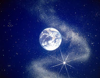 Earth in Space. View of the Earth in space against a backdrop of stars royalty free stock image