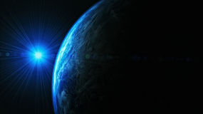 Earth From Space. A 3D rendering of earth as seen from space with a flare for style