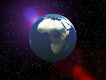 The Earth In Space. Earth in space with a star background Royalty Free Stock Photography