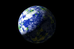 Earth from space. Graphically rendered image of planet earth as seen from outer space vector illustration