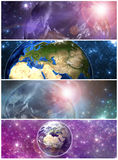 Earth in the space banners Stock Image