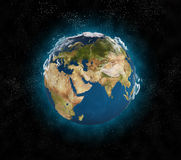 Earth in space. Blue planet earth in space Royalty Free Stock Image