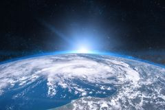 Earth in the space. Blue sunrise.