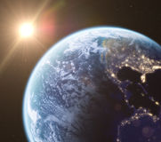 Earth in space, 3d render. Earth in space and rising sun, 3d render Stock Photography