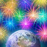 Earth in space with fireworks Stock Images