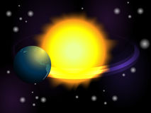 Earth in the space. Planet earth is in orbit around the sun against the background of space stock illustration