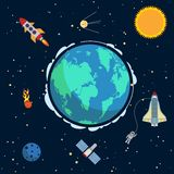 Earth in space. Poster with globe and spacecrafts and  satellites on orbit vector illustration Royalty Free Stock Photography