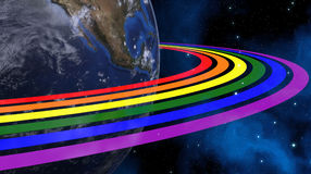 Earth From Space With Rainbow Rings. Continents Colored In LGBT Colors. Elements of this image furnished by NASA Royalty Free Stock Image