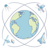 Earth in space. Satellites and spacecrafts orbiting Earth. Royalty Free Stock Image