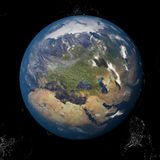 The Earth from space showing Europe and Africa. Other orientations available. Stock Images