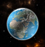 Earth from space showing Europe and Africa Royalty Free Stock Photos