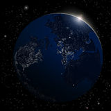 Earth from space. Space sunrise background Stock Photos