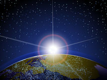Earth from space with sun rising and clouds. Illustration of earth in space with sun rising, clouds and stars Stock Photo