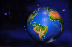 Earth in space. Theatre backdrop featuring the earth in space royalty free illustration