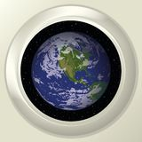 Earth and space in window Stock Photos