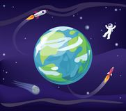 Earth and Spaceman Poster Vector Illustration. Earth and spaceman, wearing spacesuit, poster with planet and rockets, stars and flight and exploration, placard Royalty Free Stock Photography