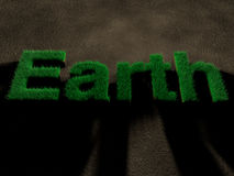 Earth spelled by letters made of grass on soil. Concept of savin. Word Earth spelled by letters made of grass on soil. Concept of saving nature Stock Photography