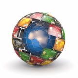 Earth in sphere from credit cards Royalty Free Stock Photos