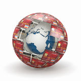 Earth in sphere from credit cards Stock Photos