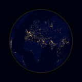 Earth sphere lights of cities Africa, Europe and Asia. Vector Royalty Free Stock Photo